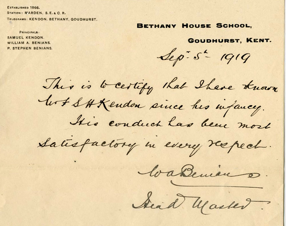 Reference letter from WA Benians, Headmaster of Bethany School
