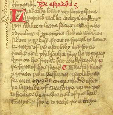 Extract from Chaucer's Treatise on the Astrolabe, MS E.2, f. 2r