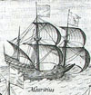 A Dutch ship called the Mauritius from a 1611 book about Dutch exploration and trade
