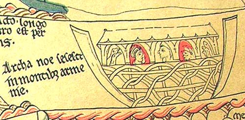 Noah's arc from the Hereford Mappa Mundi. Click on the picture to see a larger image