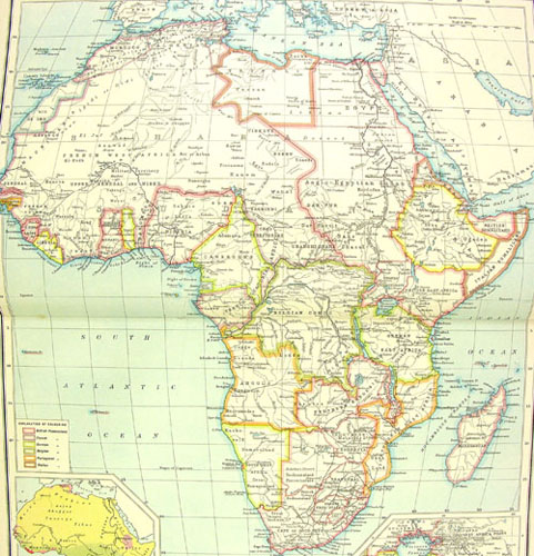 1917 map of Africa showing colonial terratories