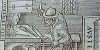 Detail of a woodcut of a smith making a magnet from William Gilbert's De magnete, 1600