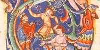 Detail of Cain slaying Abel from an illuminated initial, St John's MS A.8, 12th cent.