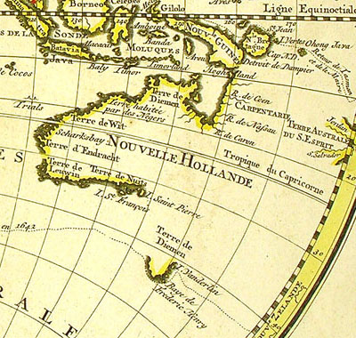 Map of Australia showing Abel Tasman's route around Van Diemen's Land