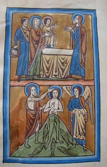 Joseph and the Virgin present Christ to Simeon, and John baptises Christ