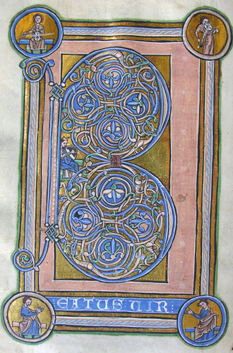 illuminated initial B with medallions