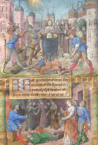 two half-page miniatures depicting St John