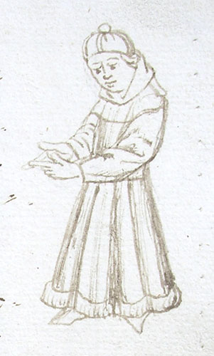 marginal drawing of a man in a furred gown
