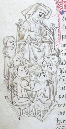 marginal drawing of a doctor teaching pupils