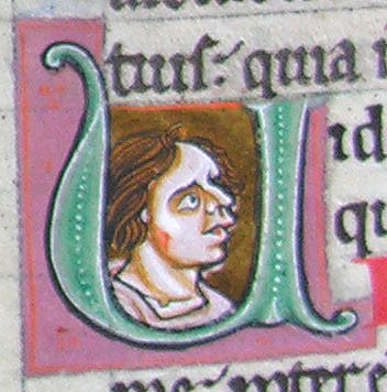 initial U incorporating the bust of a man