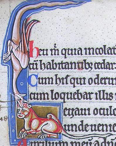 initial L incorporating a dragon biting the head of a cat