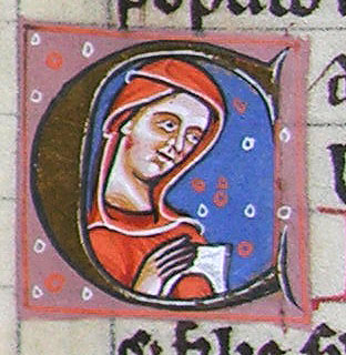 initial C incorporating a woman with a book