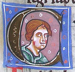 initial C incorporating the bust of a man