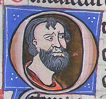 initial Q incorporating the bust of a bearded man