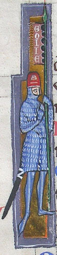 initial I incorporating a mailed man with a banner
