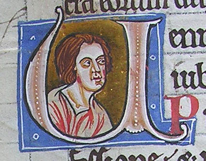 initial U incorporating the bust of a young man