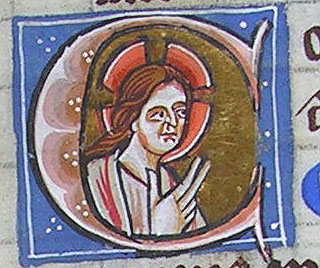 initial C incorporating a bust of Christ blessing