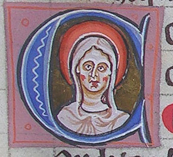 initial C incorporating a bust of the Virgin nimbed