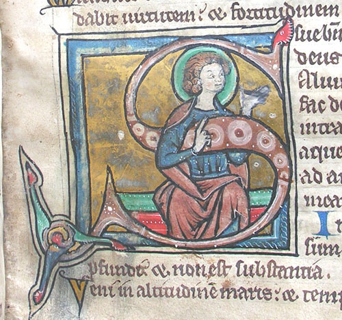 initial S incorporating a seated nimbed man