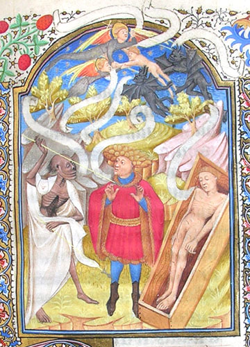 miniature depicting a young man, Death, angels and demons