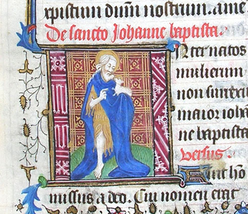 initial I incorporating St John the Baptist holding a lamb