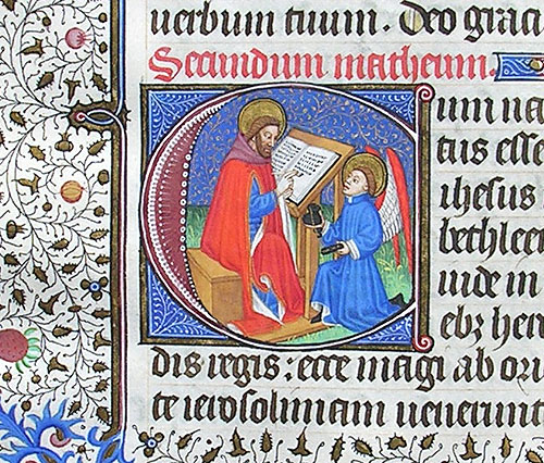 initial C incorporating St Matthew and an angel