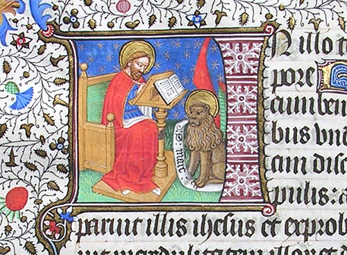 initial I incorporating St Mark and his lion