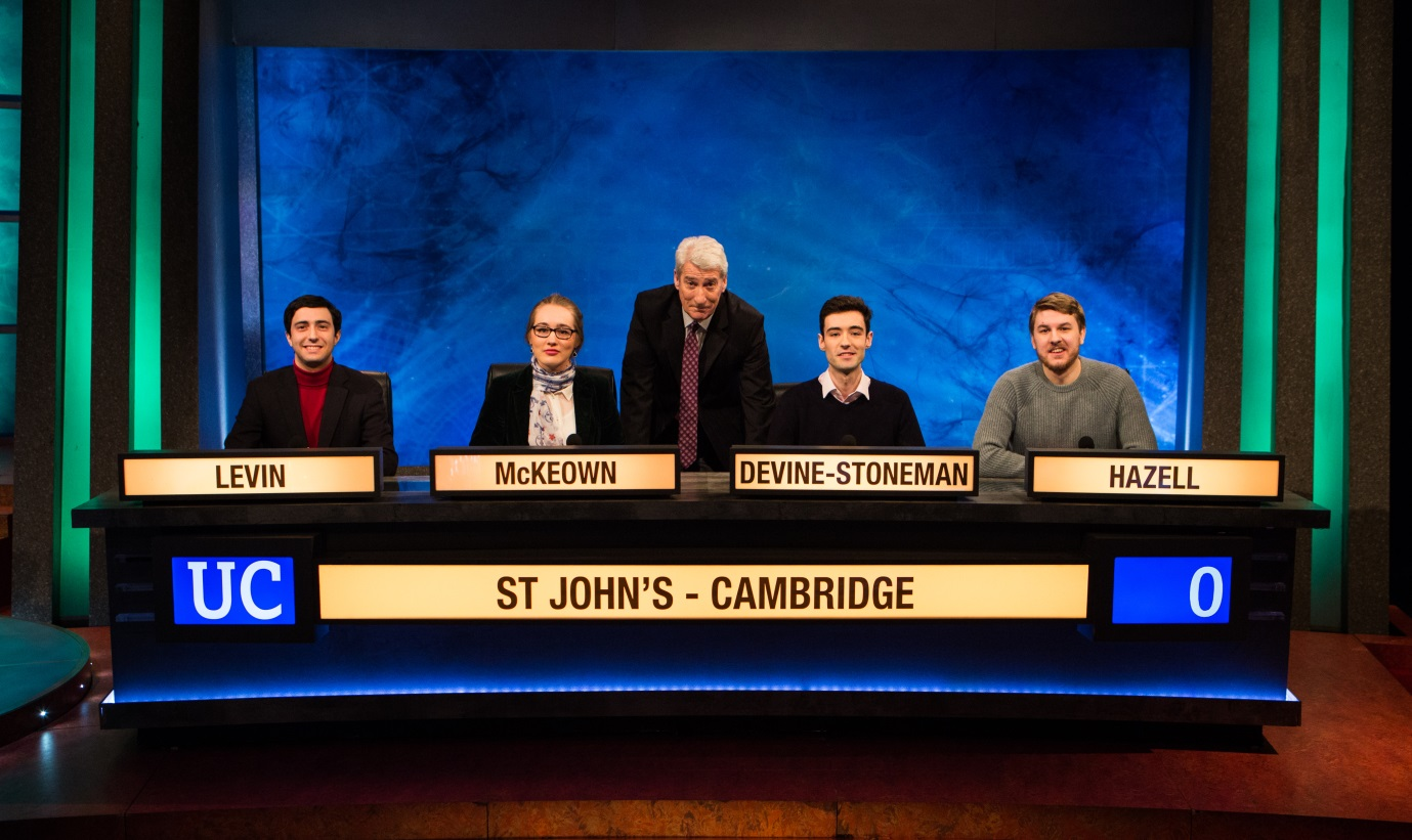 The St John's University Challenge team with Jeremy Paxman