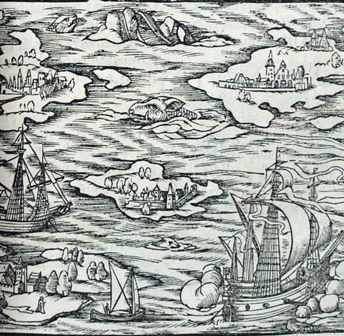 Woodcut showing a seamonster