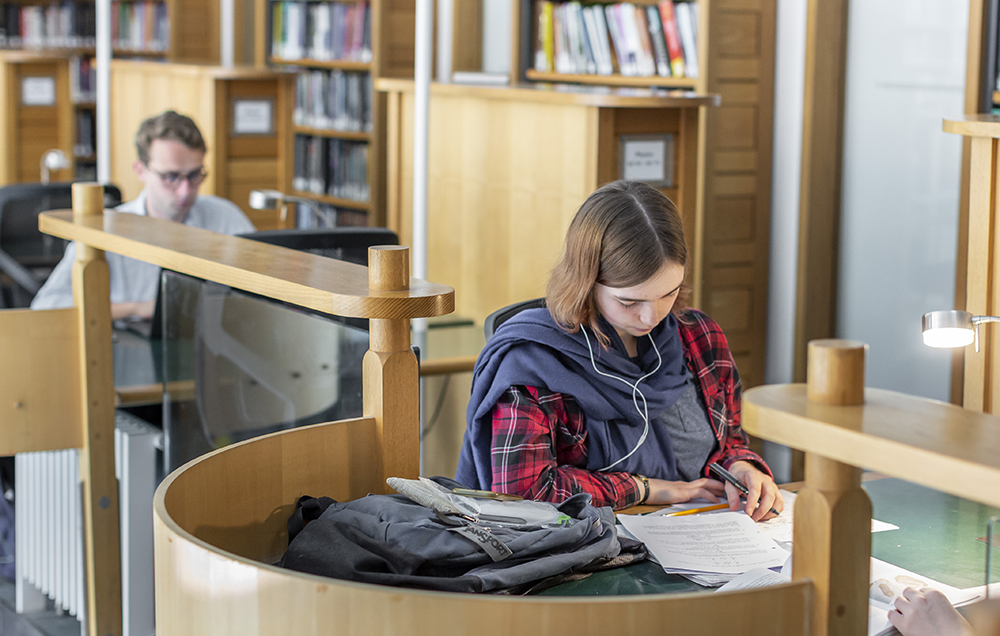 Students study in the College library