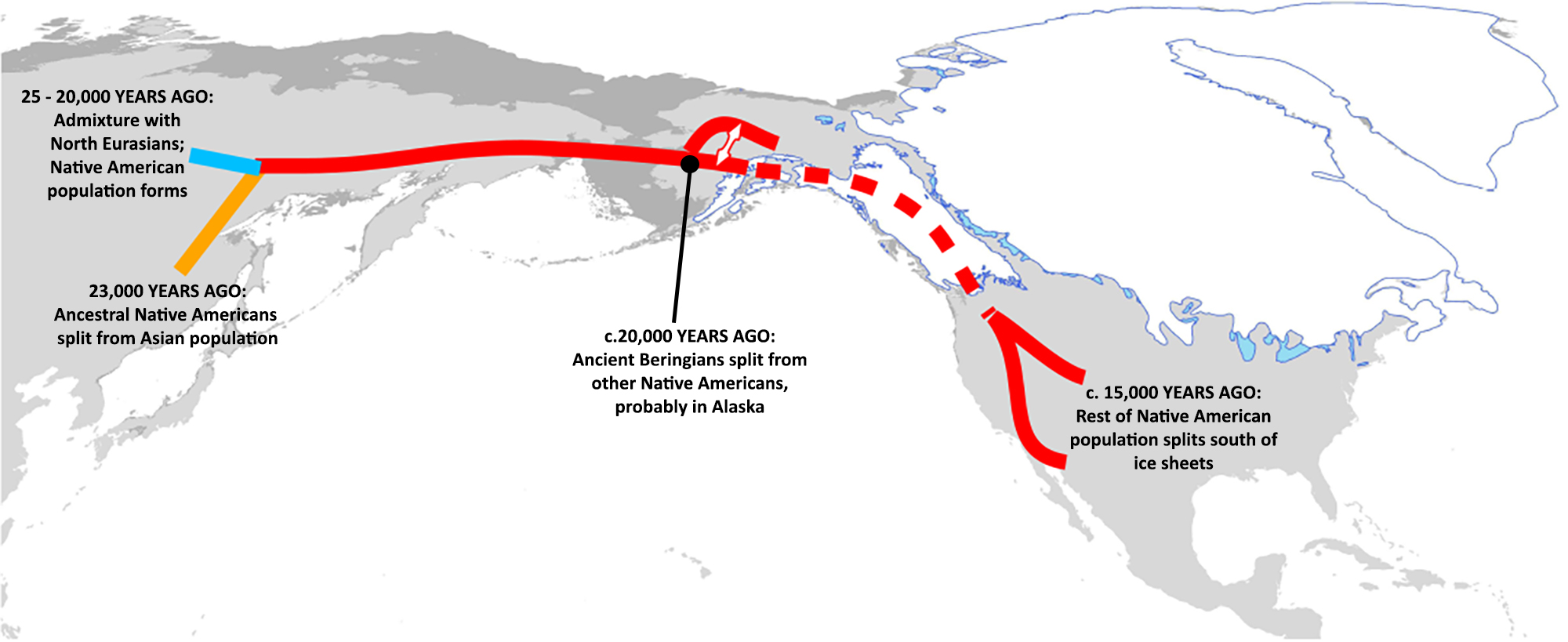 Map showing spread of populations