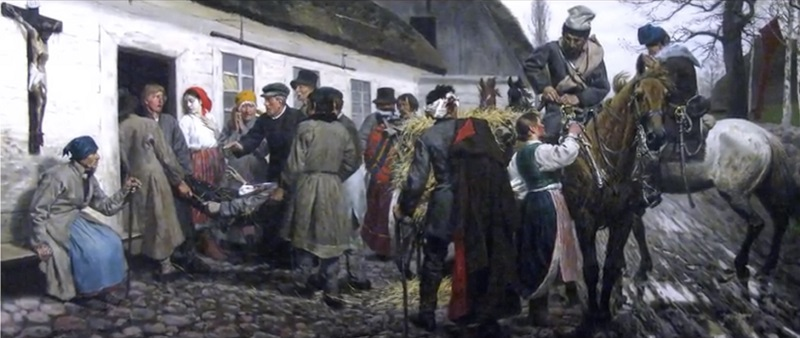 Cavalrymen taking leave in Lithuania, attrib. A. Orłowski