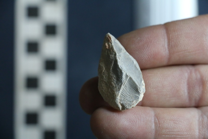 A stone tool found below the Last Glacial Maximum (LGM) layer at Chiquihuite Cave. Credit: Ciprian A