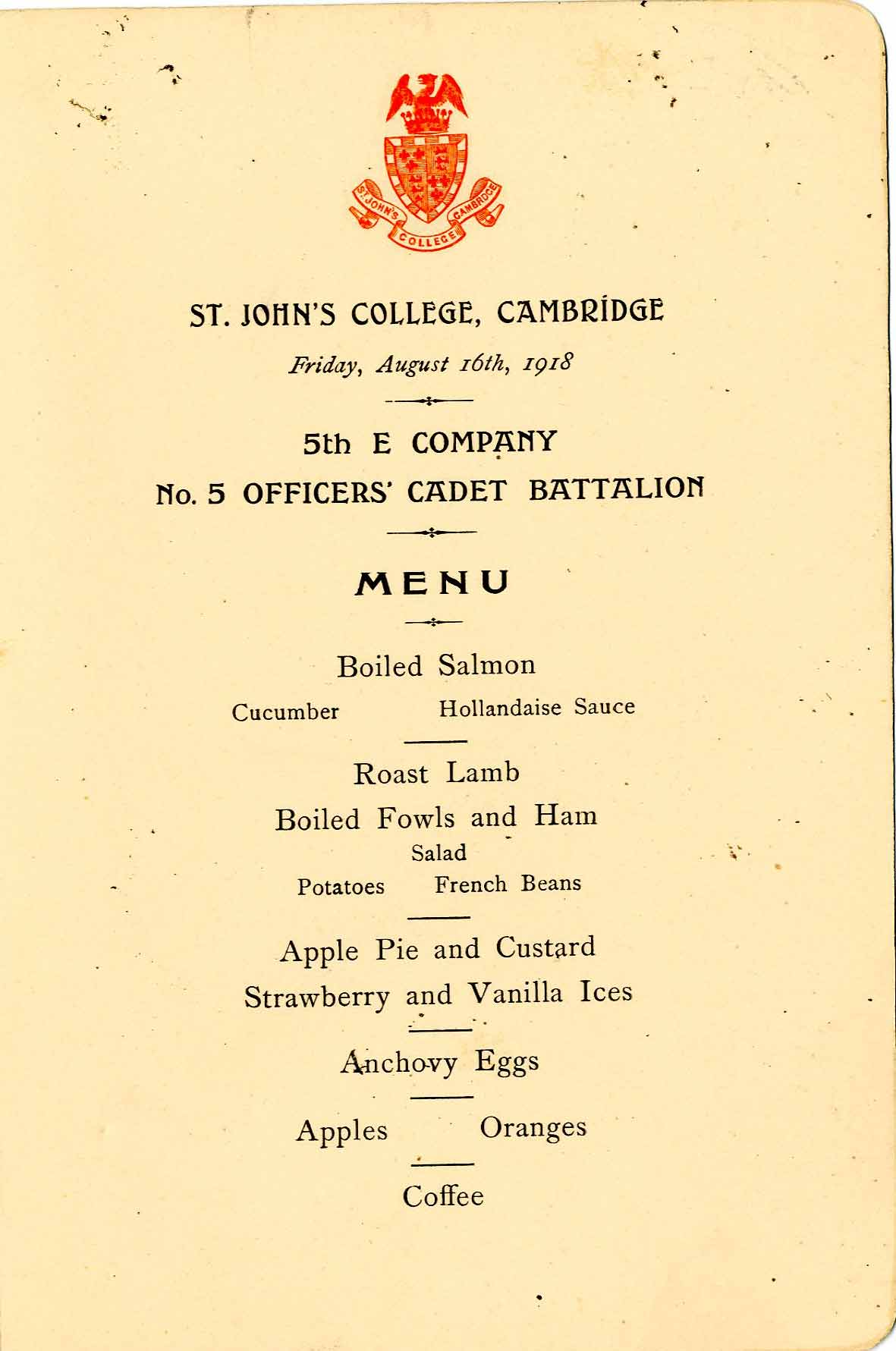 Officers' Cadet dinner menu