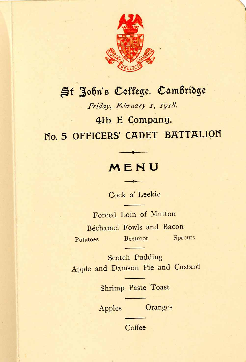 WW1 Cadet Battalion dinner menu