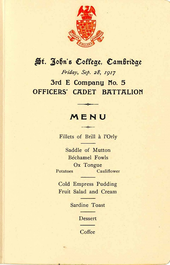 Officers' Cadet dinner menu 1917