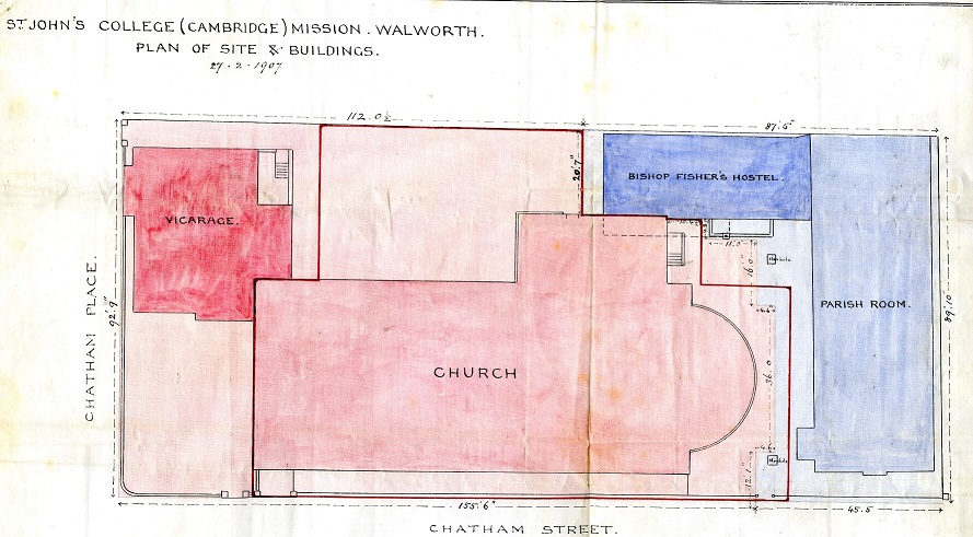Plan showing St John's College Mission buildings, 1907