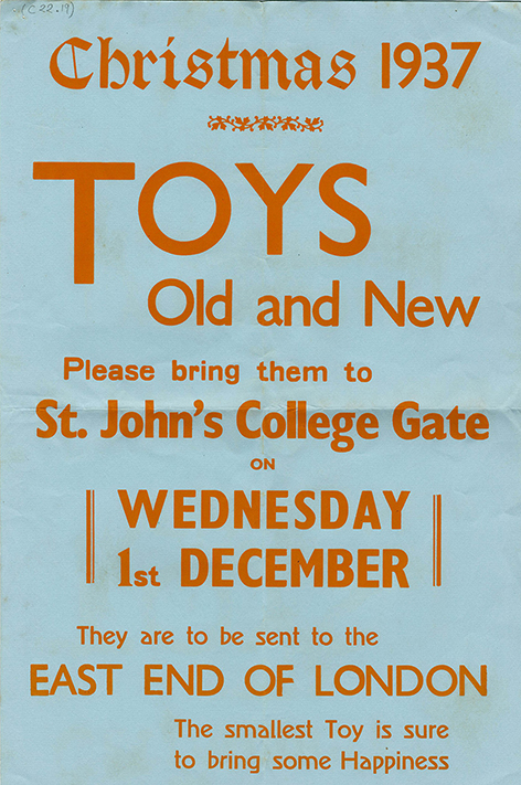 A poster asking for toy donations