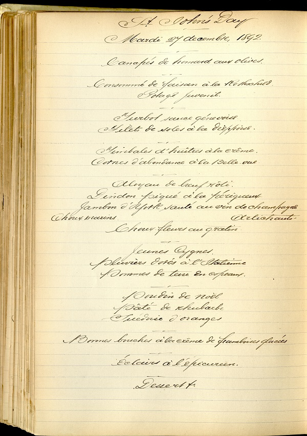 Menu for the Feast of St John 1892