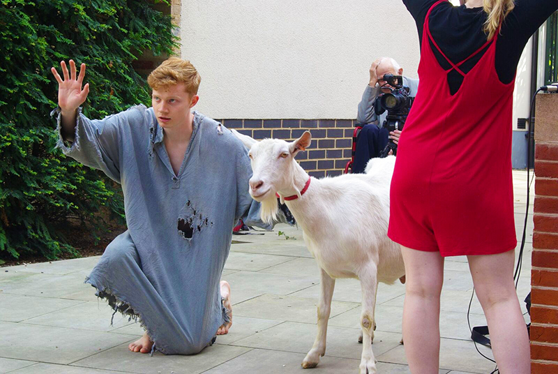 George Heath-Whyte as Gimil-Ninurta in The Poor Man of Nippur with Florence the goat